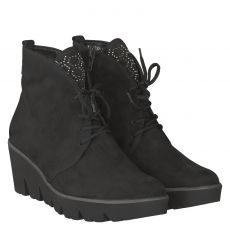 Waldläufer, Hiki, kurzer Nubukleder-Stiefel in schwarz für Damen