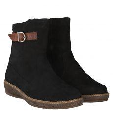 Waldläufer, Hoja, warmer Nubukleder-Stiefel in schwarz für Damen