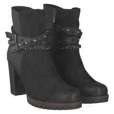 Marco Tozzi kurzer Nubukleder-Stiefel in schwarz für Damen