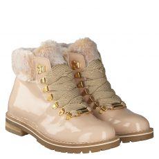Schuhengel warmer Lackleder-Stiefel in beige für Damen