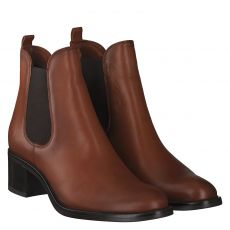 Schuhengel, Braun, kurzer Glattleder-Stiefel in cognac für Damen
