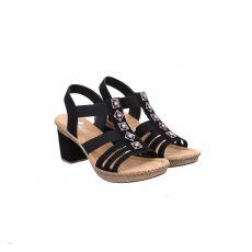 Rieker Kunstleder-Sandalette in schwarz für Damen