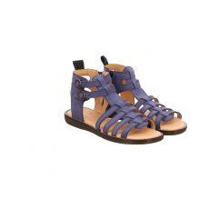 Sabalin, Blau, Veloursleder-Sandale in braun für Mädchen