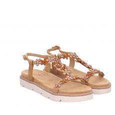 Alma En Pena, Braun, Veloursleder-Sandalette in beige für Damen