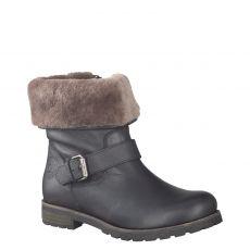 Panama Jack, Igloo, kurzer Glattleder-Stiefel in schwarz für Damen