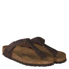 Birkenstock, Gizeh[zehensteg], Fettleder-Fußbettschuh in braun für Herren