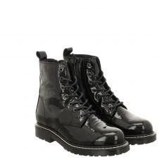 Schuhengel kurzer Lackleder-Stiefel in schwarz für Damen
