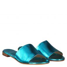 Schuhengel, Blau, Glattleder-Pantolette in türkis für Damen