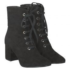 Schuhengel kurzer Nubukleder-Stiefel in schwarz für Damen