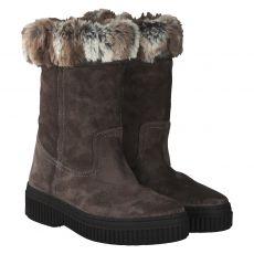 Schuhengel, Helen, warmer Veloursleder-Stiefel in grau für Damen