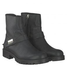 Hugo, Victoria Zip Biker, kurzer Glattleder-Stiefel in schwarz für Damen