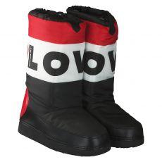 Love Moschino warmer Textil-Stiefel in schwarz für Damen