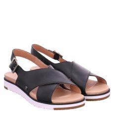 Ugg, Kamile, Glattleder-Sandalette in schwarz für Damen