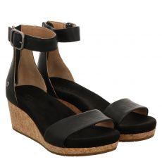 Ugg, Zoe, Glattleder-Sandalette in schwarz für Damen