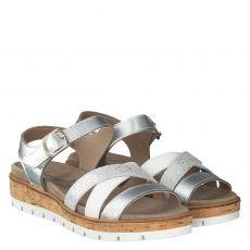 Van Der Laan, Mia, Glattleder-Sandalette in grau für Damen