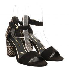 Tamaris Veloursleder-Sandalette in schwarz für Damen