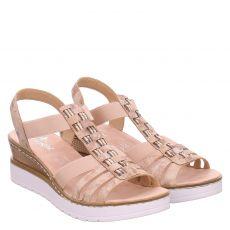 Rieker, Rot, Kunstleder-Sandalette in rosé für Damen