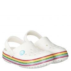 Crocs, Crocband Rainbow Gli, Gummi (synth.)-Pantolette in weiß für Mädchen
