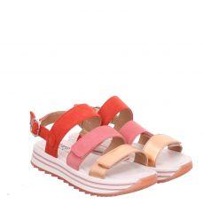 Primigi Veloursleder-Sandale in rot für Mädchen