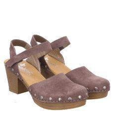 Rieker Veloursleder-Sandalette in grau für Damen