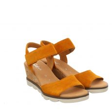 Gabor Lady, Gelb, Veloursleder-Sandalette in orange für Damen