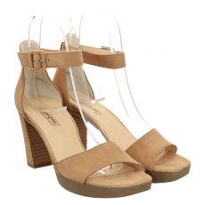 Paul Green, 7618, Veloursleder-Sandalette in beige für Damen