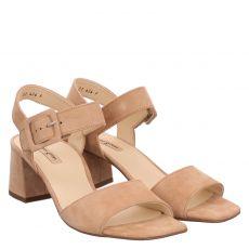 Paul Green, 7634, Veloursleder-Sandalette in beige für Damen
