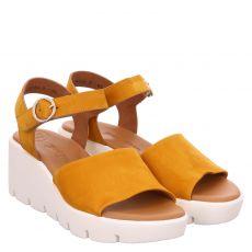 Paul Green, 7366, Nubukleder-Sandalette in gelb für Damen