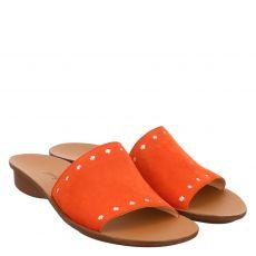 Paul Green, 7550, Veloursleder-Pantolette in orange für Damen