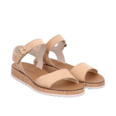 Paul Green, 7534, Nubukleder-Sandalette in beige für Damen