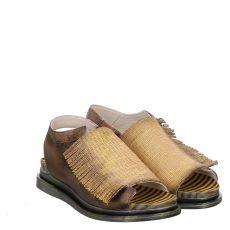 Papucei, Gelb, Glattleder-Sandalette in gold für Damen