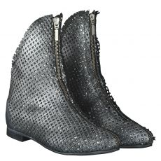 Papucei kurzer Glattleder-Stiefel in silber für Damen