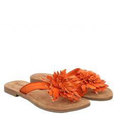 Lazamani, Rot, Glattleder-Pantolette in orange für Damen
