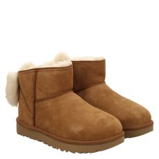Ugg, Mini Classic Bow, warmer Veloursleder-Stiefel in braun für Damen