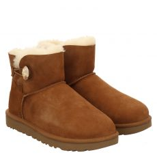 Ugg, Mini Bailey Button Bling, warmer Veloursleder-Stiefel in braun für Damen