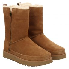 Ugg, Classic Zip Short, warmer Veloursleder-Stiefel in braun für Damen