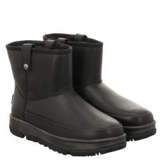Ugg, Mini Classic Weather, warmer Glattleder-Stiefel in schwarz für Damen