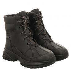 Ugg, Yose, kurzer Glattleder-Stiefel in schwarz für Damen