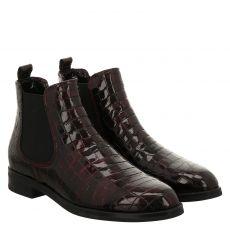 Schuhengel, Rot, kurzer Lackleder-Stiefel in bordeaux für Damen
