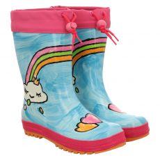 Maximo, Regenbogen, Regenstiefel in blau für Mädchen