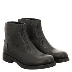 Hugo Boss, Vicky Biker-lg, kurzer Glattleder-Stiefel in schwarz für Damen
