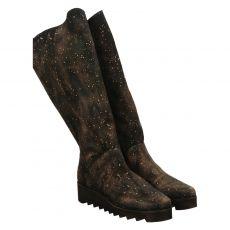 Papucei hoher Veloursleder-Stiefel in schwarz für Damen