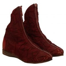 Papucei, Rot, kurzer Veloursleder-Stiefel in bordeaux für Damen