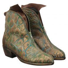 Papucei kurzer Glattleder-Stiefel in grün für Damen