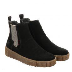 Rieker kurzer Veloursleder-Stiefel in schwarz für Damen