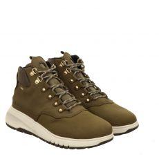 Geox, Ankle Boots, kurzer Nubukleder-Stiefel in grün für Damen
