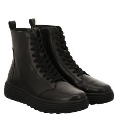 Geox, Ankle Boots, kurzer Glattleder-Stiefel in schwarz für Damen