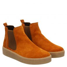 Gabor, Rot, kurzer Veloursleder-Stiefel in orange für Damen