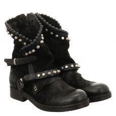 As 98 (airstep), Recycled, kurzer Nubukleder-Stiefel in schwarz für Damen