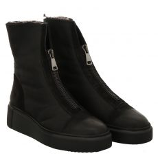 Paul Green, 0067-9653-007/stiefelette, kurzer Veloursleder-Stiefel in schwarz für Damen